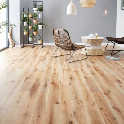Woodpecker York Solid Oak Flooring - White Washed Oak (Brushed & Matt Lacquered)