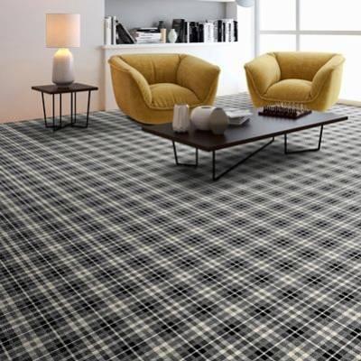 JHS Park Royal Exclusive Wilton Carpet - Monochrome Tartan
