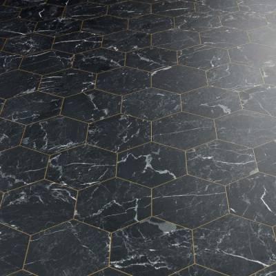 Italian Black Marble Tile Vinyl